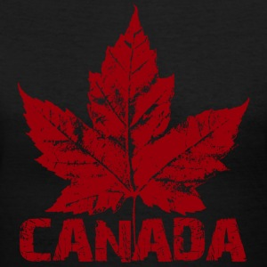 Cool Retro Canada T-shirt Ladies Maple Leaf Canada Shirt - Women's V-Neck T-Shirt
