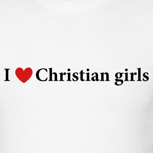 White I Heart Christian Girls Men - Men's T-Shirt