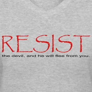Gray Resist the Devil  Women - Women's V-Neck T-Shirt