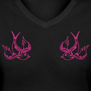 Black Dual Songbirds Women - Women's V-Neck T-Shirt