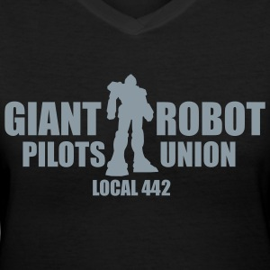 Black Giant Robot Pilot's Union Women - Women's V-Neck T-Shirt