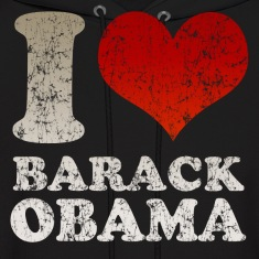 Black I love Barack Obama t shirt Men