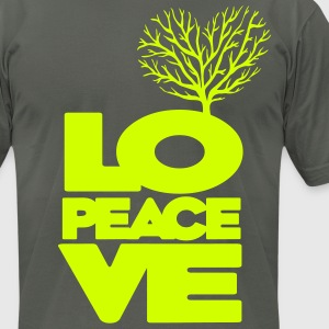 Love peace tree heart - Men's T-Shirt by American Apparel