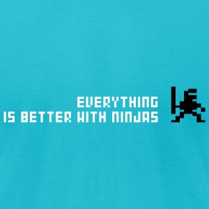 Turquoise Everything is better with ninja Men - Men's T-Shirt by American Apparel