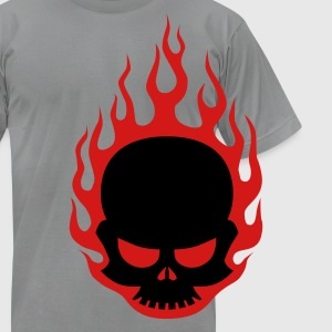 Skull In Flames - Men's T-Shirt by American Apparel