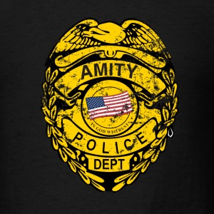 Black Amity Police Jaws T-Shirts - Men's T-Shirt