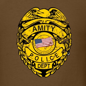 Brown Amity Police Jaws T-Shirts - Men's T-Shirt