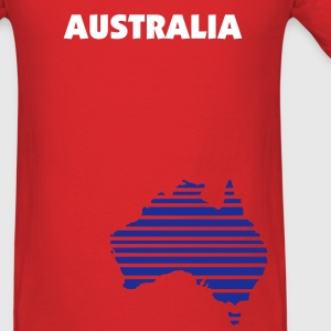 Red Australia map in stripes Men - Men's T-Shirt