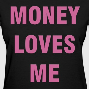 MONEY LOVES ME Purple Glitter - Women's T-Shirt
