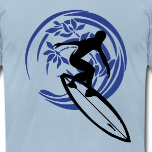 Light blue surfer Men - Men's T-Shirt by American Apparel