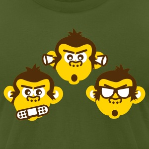 Olive three wise monkeys Men - Men's T-Shirt by American Apparel