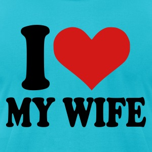 Turquoise I love my wife Men - Men's T-Shirt by American Apparel
