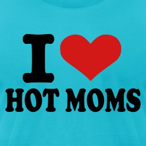 Turquoise I love hot moms Men - Men's T-Shirt by American Apparel
