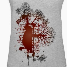 Gray trees red vintage design Women