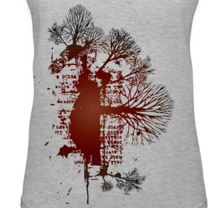 Gray trees red vintage design Women - Women's V-Neck T-Shirt