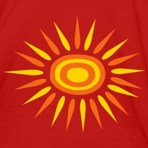 Red Big Sun With Alternate-Color Rays and Rings Women - Women's T-Shirt