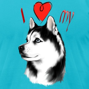 I Love My Siberian Husky - Men's T-Shirt by American Apparel