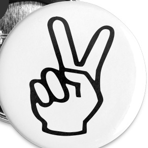 V-sign Peace Badge White - Small Buttons
