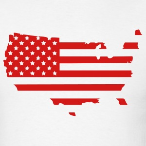 White Stars & Stripes USA Flag Map Men - Men's T-Shirt
