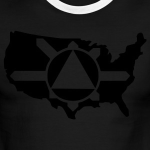 White/navy Illuminati Pyramid USA Control Men - Men's Ringer T-Shirt