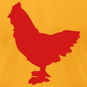Gold Chicken silhouette Men - Men's T-Shirt by American Apparel