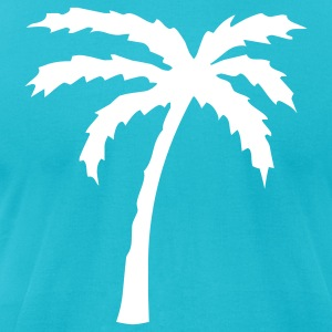 Turquoise Tropical Beach Palm tree 2  Men - Men's T-Shirt by American Apparel