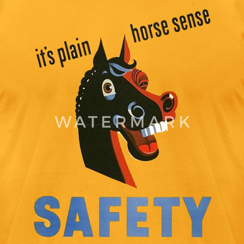 Gold horse sense funny safety shirt T-Shirts (Short sleeve) - Men's T-Shirt by American Apparel