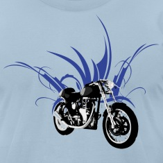 Light blue motorcycle cafe racer T-Shirts (Short sleeve)