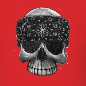 Red Gangster Skull Bandana T-Shirts - Men's T-Shirt
