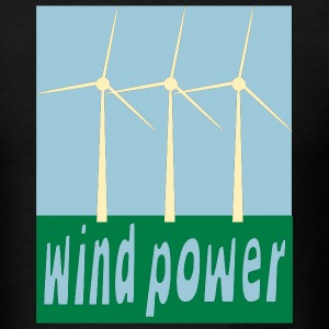Black Wind Power With Wind Turbines T-Shirts (Short sleeve) - Men's T-Shirt