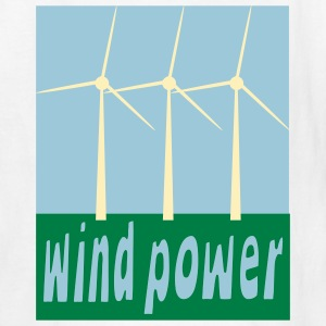 White Wind Power With Wind Turbines Kids Shirts - Kids' T-Shirt
