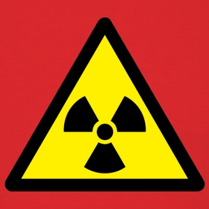 Red caution_radiation_by T-Shirts (Short sleeve) - Men's T-Shirt