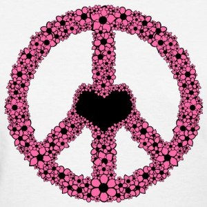 White Flowery Peace Sign - PINK Women's Tees (Short sleeve) - Women's T-Shirt