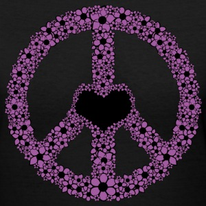 Black Flowery Peace Sign - PURPLE Women's Tees (Short sleeve) - Women's V-Neck T-Shirt