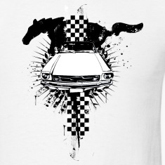 White auto_mustang_1_bw T-Shirts (Short sleeve)