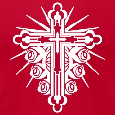 Red Ornate Cross with Roses 1 Color T-Shirts (Short sleeve)