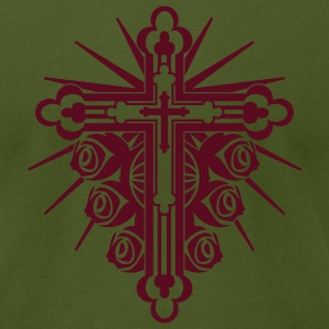 Olive Ornate Cross with Roses 1 Color T-Shirts (Short sleeve) - Men's T-Shirt by American Apparel
