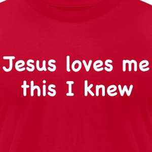Bright green jesus loves me T-Shirts (Short sleeve) - Men's T-Shirt by American Apparel