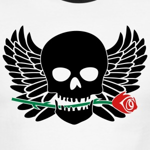 White/black Skull with Wings & Rose 3 Color T-Shirts (Short sleeve) - Men's Ringer T-Shirt