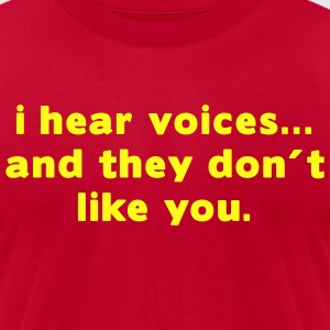 Aqua i hear voices and they don´t like you T-Shirts (Short sleeve) - Men's T-Shirt by American Apparel