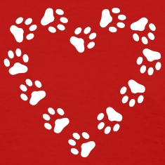 Red Paw Print Heart pawprint dog, cat, Women's Tees (Short sleeve)