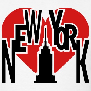 White New York With Big Heart And Tall Building T-Shirts (Short sleeve) - Men's T-Shirt