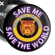 Design ~ SAVE ME, SAVE THE WORLD - PACK OF 5 BIG BUTTONS
