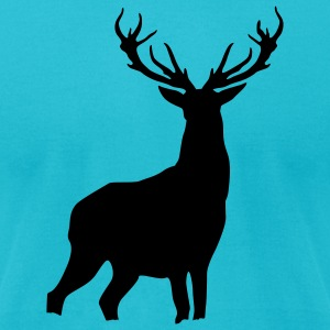 Turquoise Deer with antlers T-Shirts (Short sleeve) - Men's T-Shirt by American Apparel