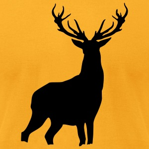 Gold Deer with antlers T-Shirts (Short sleeve) - Men's T-Shirt by American Apparel
