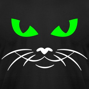 Black cat face T-Shirts (Short sleeve) - Men's T-Shirt by American Apparel