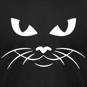 Black cat face kitty pussy T-Shirts (Short sleeve) - Men's T-Shirt by American Apparel