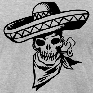Heather grey Mexican Skull T-Shirts (Short sleeve) - Men's T-Shirt by American Apparel