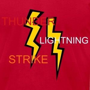 Red two two colored lightning bolts T-Shirts - Men's T-Shirt by American Apparel