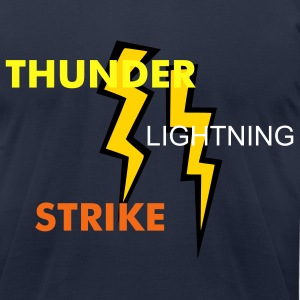 Navy two two colored lightning bolts T-Shirts - Men's T-Shirt by American Apparel